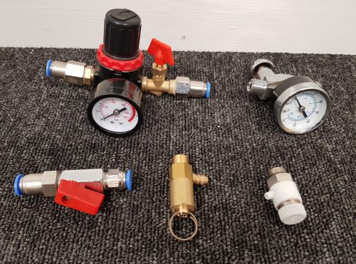 Numerous types of air pressure regulators and gauges are available.